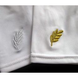 Lycra mat brodé acacia or ou blanc