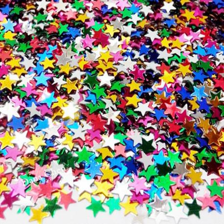 Confettis de table poussière d'étoiles multicolores
