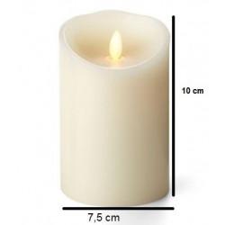 Bougie pilier LED ivoire 12 cm avec flamme réaliste