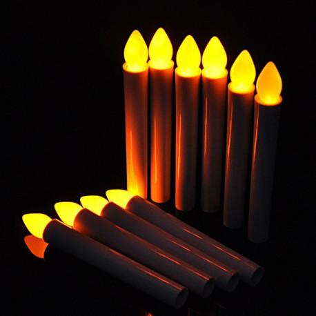 Bougie LED corps rouge flamme jaune