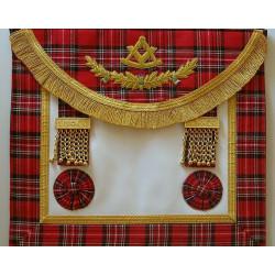 Tablier de maître RSE en vrai cuir et tartan Royal Steward