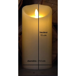 Grande bougie pilier LED blanche 15 cm avec flamme dansante