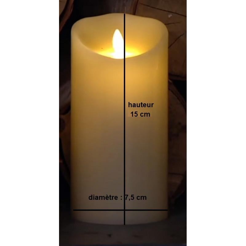 grande bougie pilier haut 15cm led blanche flamme. Black Bedroom Furniture Sets. Home Design Ideas