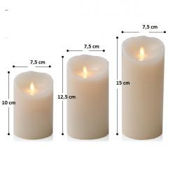 3 bougies pilier LED avec télécommande - lumière jaune