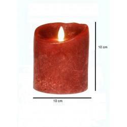 Grosse bougie pilier LED rouge diam 10 cm avec flamme dansante réaliste