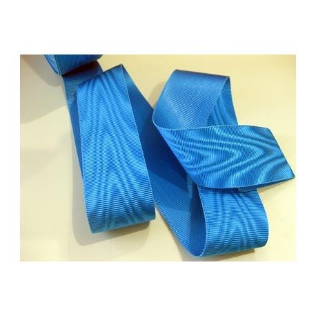 Ruban moiré BLEU TURQUOISE (RF) larg. 4 cm vendu au mètre