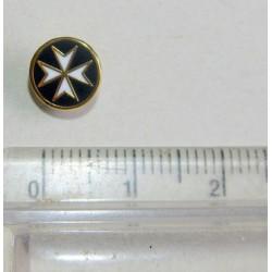 Pin's croix de Malte émaillé noir or et blanc