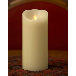 Grande bougie pilier LED ivoire 20 cm avec flamme dansante