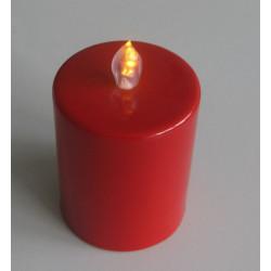 Bougie pilier LED rouge 10 cm avec flamme dansante réaliste