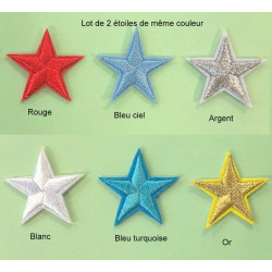 Lot de 2 étoiles brodées à coller ou à coudre