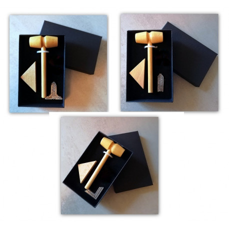 Coffret cadeau mini maillet bois, bloc à frapper et miniature