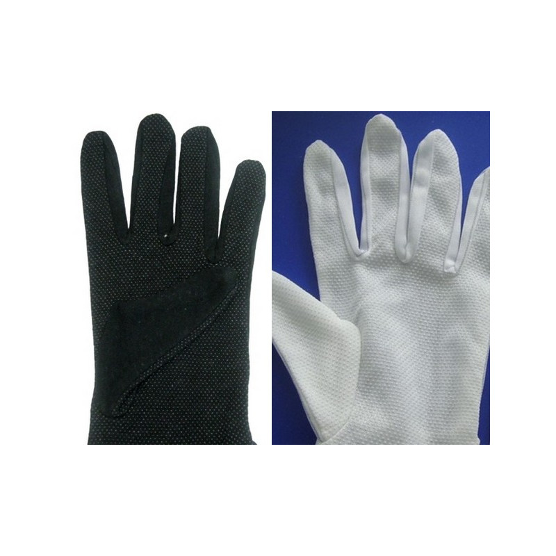 gants blancs et gants noirs de coton avec points antiglisse. Black Bedroom Furniture Sets. Home Design Ideas