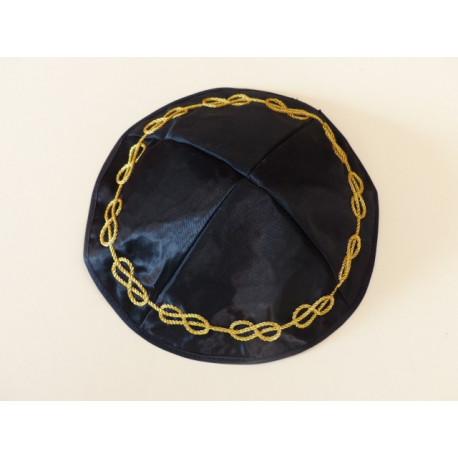Kippa réversible brodée lac + unie noire