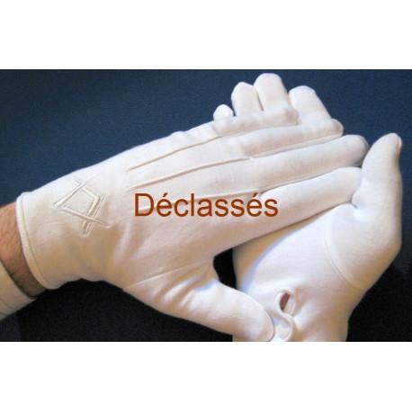 1 paire gants blancs coton Equerre - Compas DECLASSES