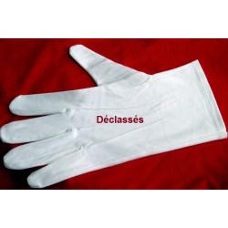 1 paire de gants blancs coton grande taille DECLASSES