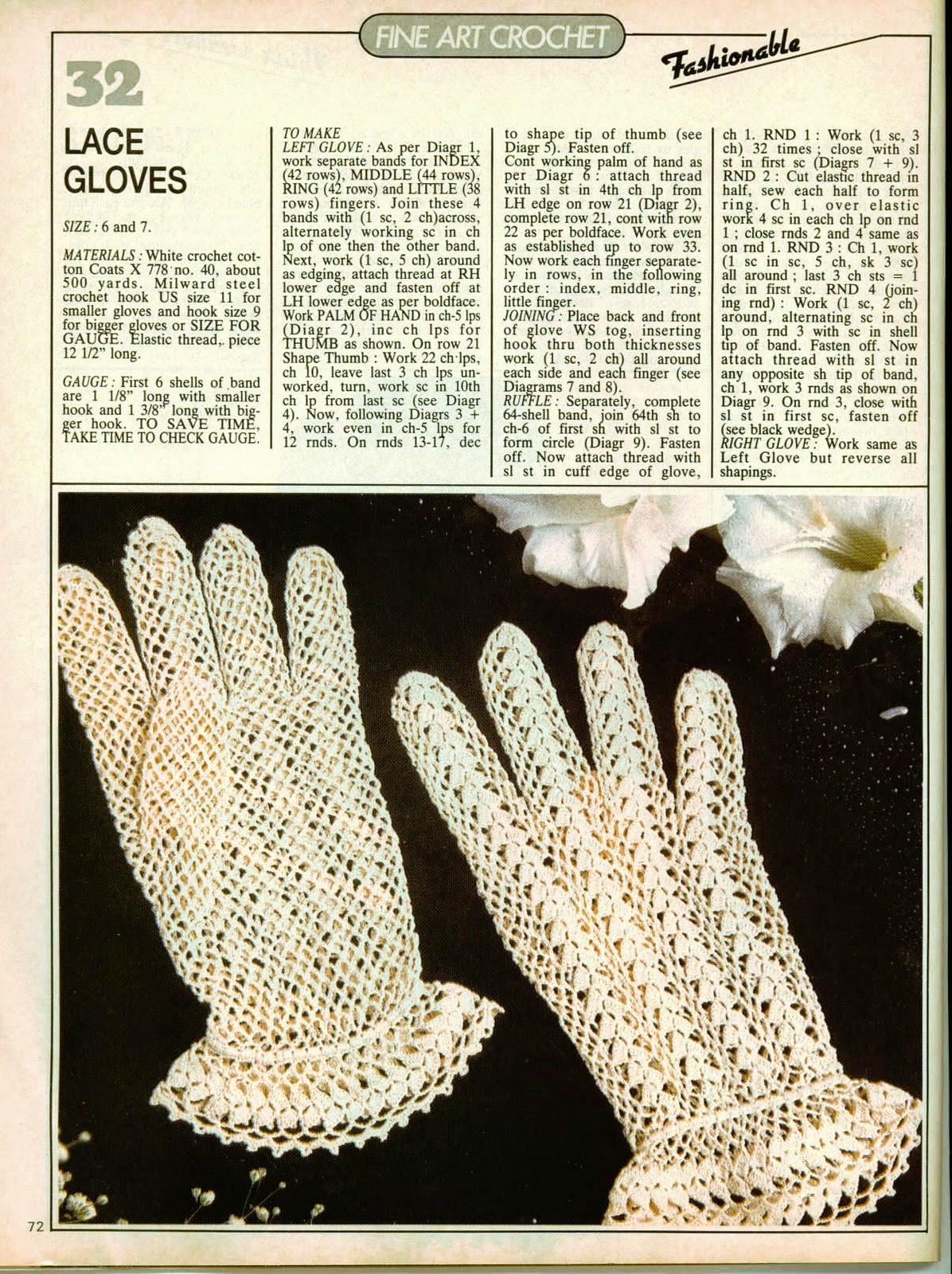 patron gants blancs enfants au crochet vintage